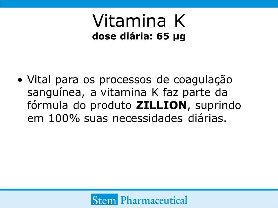 Vitamina K dose diária: 65 µg Vital para os processos de coagulação sanguínea, a vitamina K faz parte da fórmula do produto ZILLION, suprindo em 100% suas necessidades diárias.