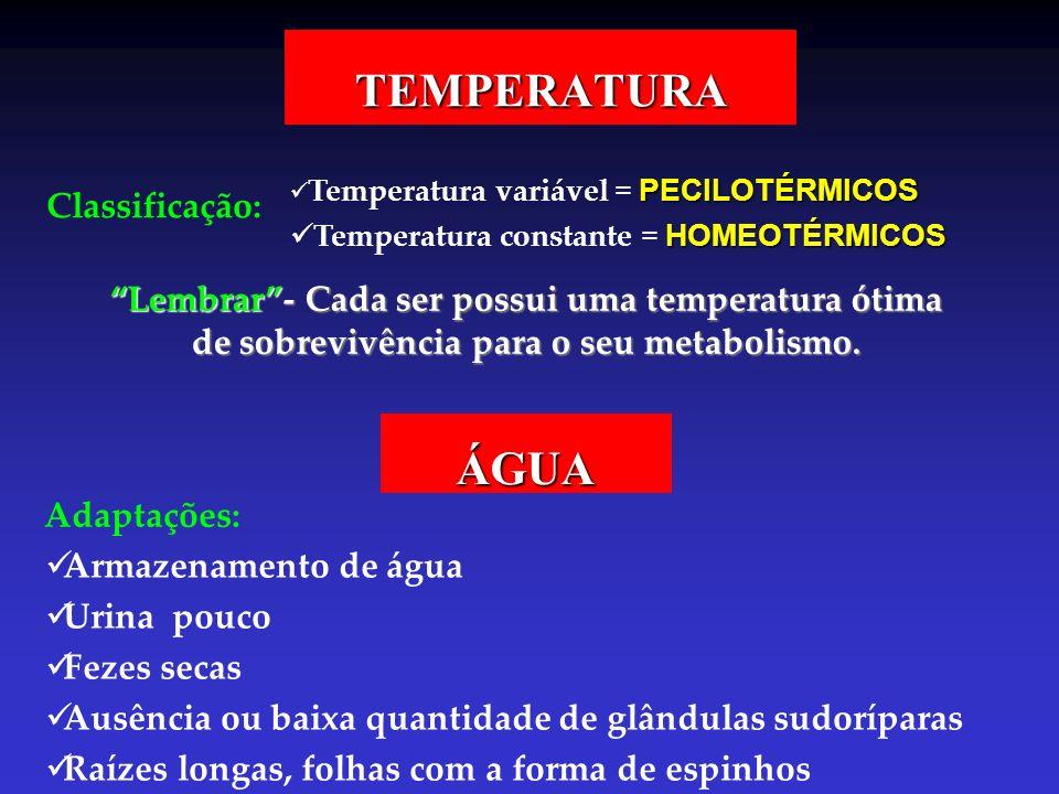 TEMPERATURA Classificação: Temperatura variável = PECILOTÉRMICOS Temperatura constante = HOMEOTÉRMICOS Lembrar- Cada ser possui uma temperatura ótima