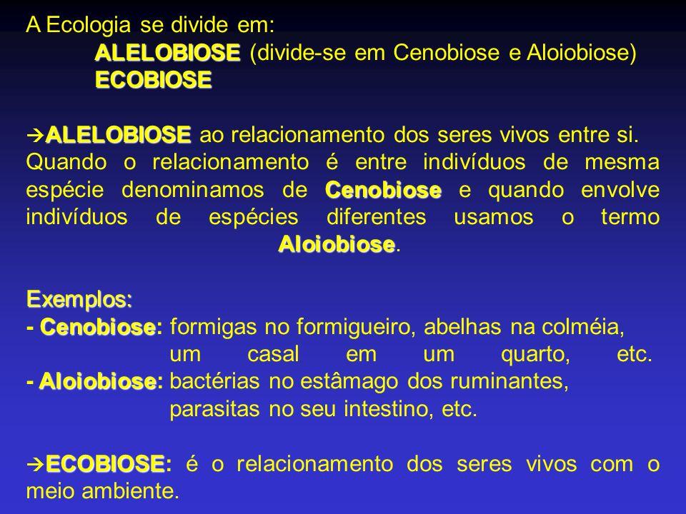 ALELOBIOSE ECOBIOSE A Ecologia se divide em: ALELOBIOSE (divide-se em Cenobiose e Aloiobiose) ECOBIOSE ALELOBIOSE ALELOBIOSE ao relacionamento dos ser