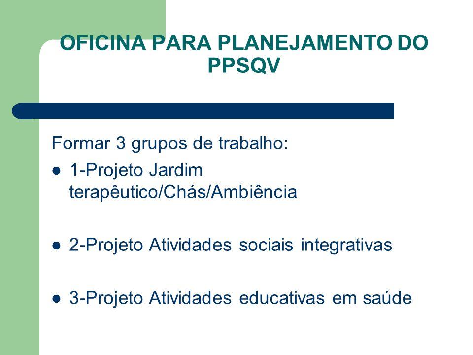 OFICINA PARA PLANEJAMENTO DO PPSQV Formar 3 grupos de trabalho: 1-Projeto Jardim terapêutico/Chás/Ambiência 2-Projeto Atividades sociais integrativas 3-Projeto Atividades educativas em saúde