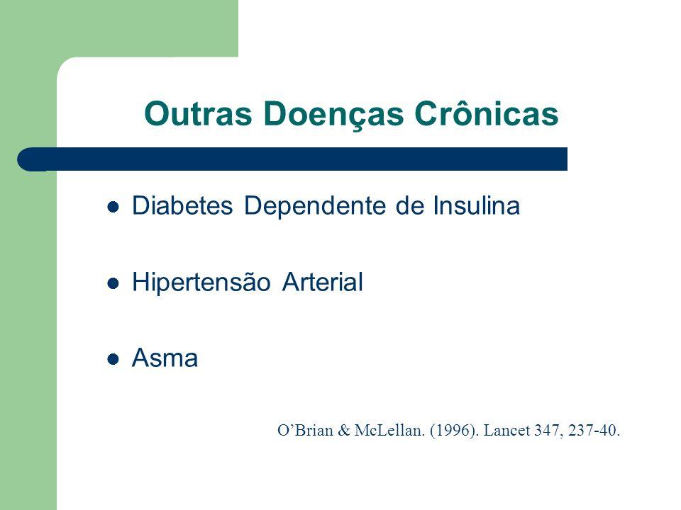 Tratamento: Taxas de Sucesso Alcoolismo: 50 % (40 - 70) Opióides: 60 % (50 - 80) Cocaína: 55 % (50 - 60) Nicotina: 30 % (20 - 40) OBrian & McLellan. (