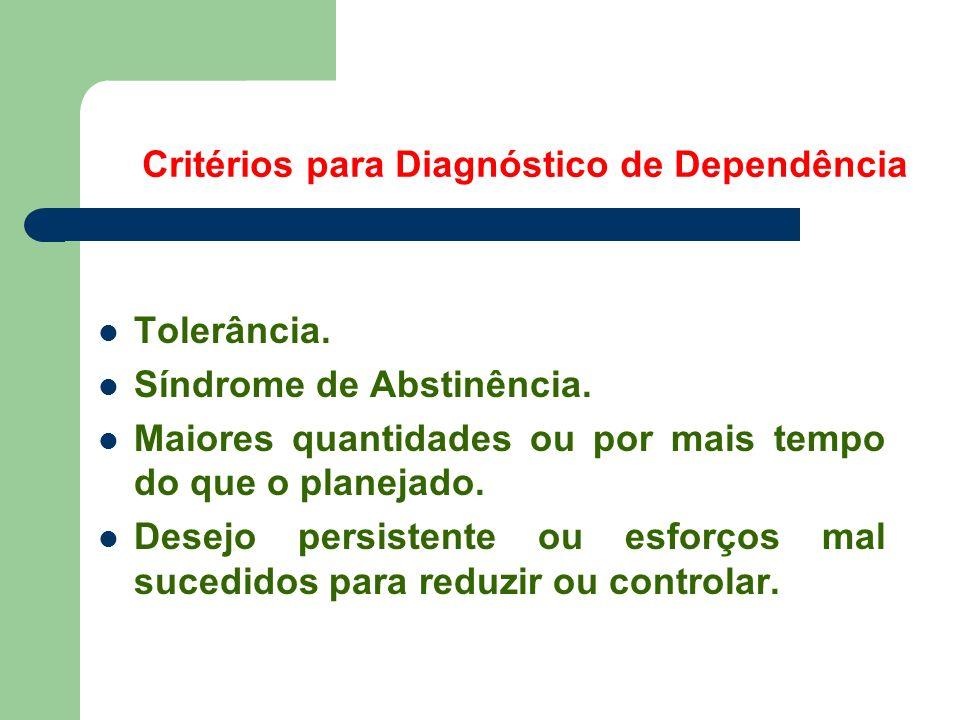 Tratamento: Taxas de Sucesso Alcoolismo: 50 % (40 - 70) Opióides: 60 % (50 - 80) Cocaína: 55 % (50 - 60) Nicotina: 30 % (20 - 40) OBrian & McLellan.