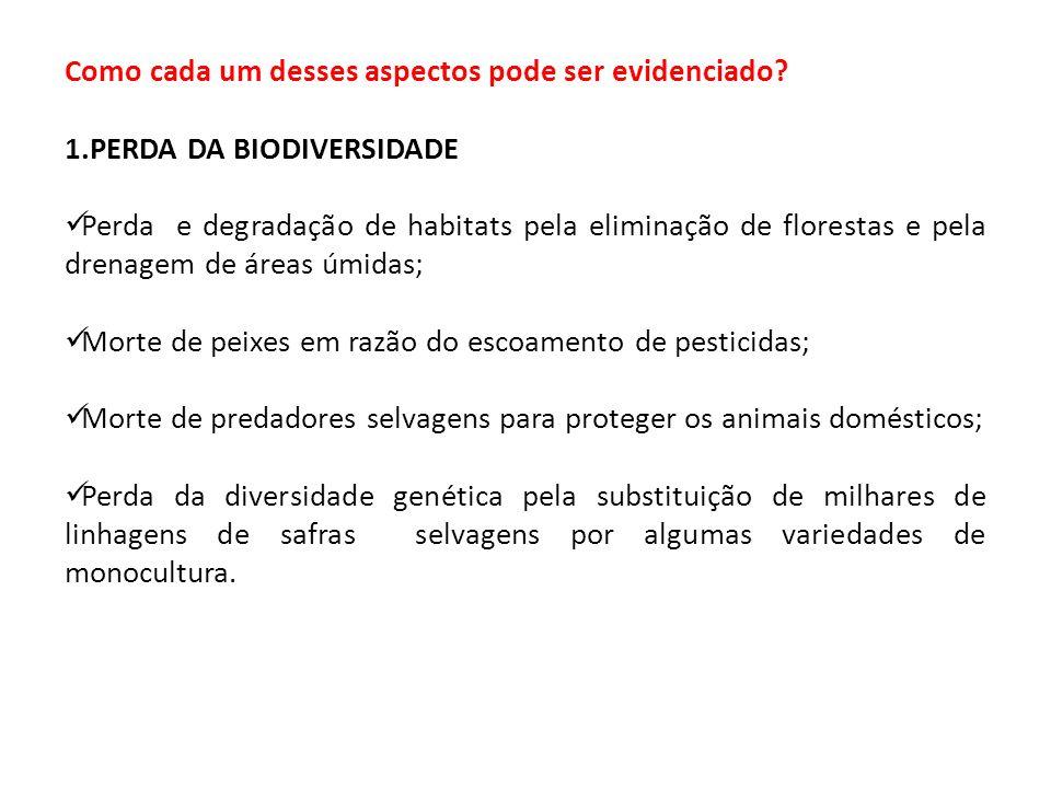 1.PERDA DA BIODIVERSIDADE Perda e degradação de habitats pela eliminação de florestas e pela drenagem de áreas úmidas; Morte de peixes em razão do esc