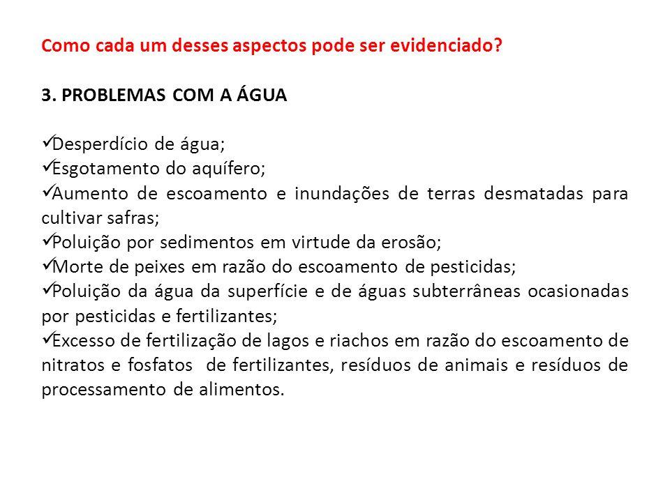 Como cada um desses aspectos pode ser evidenciado? 3. PROBLEMAS COM A ÁGUA Desperdício de água; Esgotamento do aquífero; Aumento de escoamento e inund