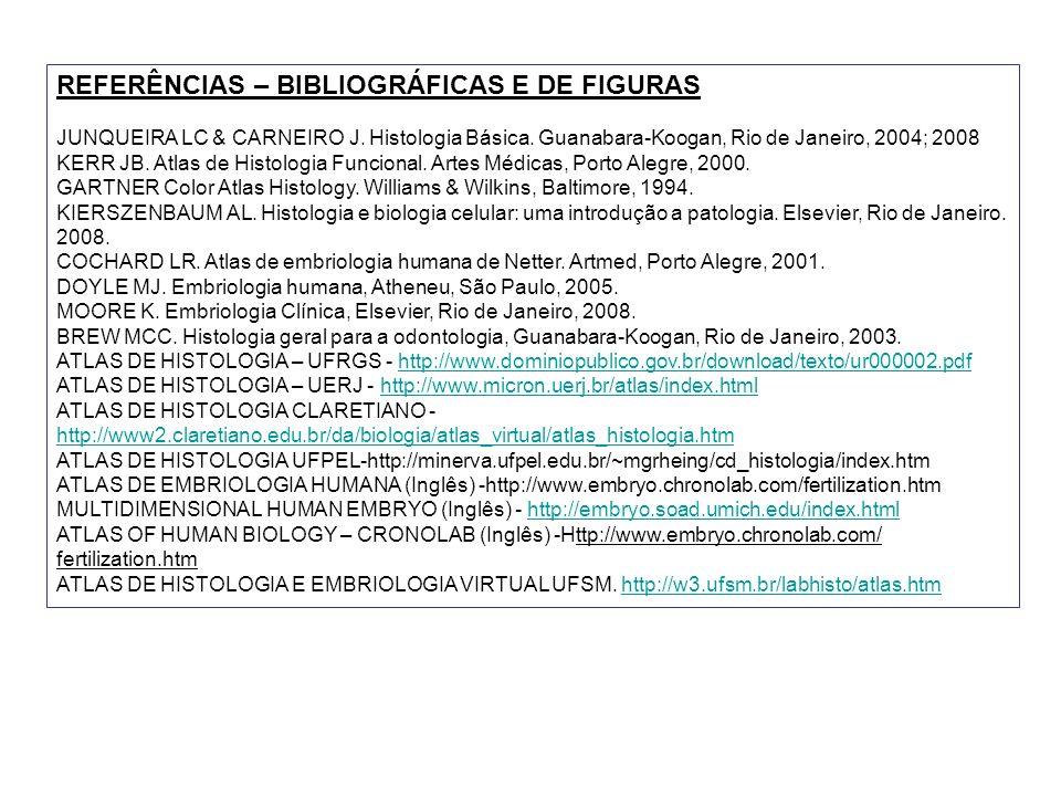 REFERÊNCIAS – BIBLIOGRÁFICAS E DE FIGURAS JUNQUEIRA LC & CARNEIRO J. Histologia Básica. Guanabara-Koogan, Rio de Janeiro, 2004; 2008 KERR JB. Atlas de
