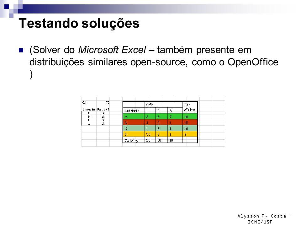 Alysson M. Costa – ICMC/USP Testando soluções (Solver do Microsoft Excel – também presente em distribuições similares open-source, como o OpenOffice )