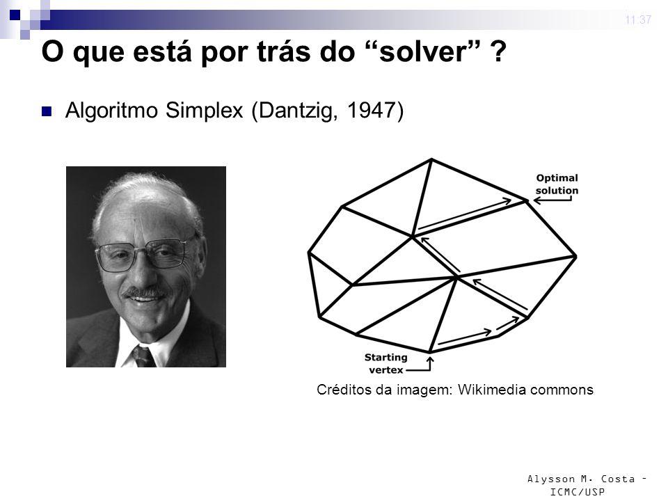 Alysson M. Costa – ICMC/USP O que está por trás do solver ? Algoritmo Simplex (Dantzig, 1947) 4 mar 2009. 11:37 Créditos da imagem: Wikimedia commons