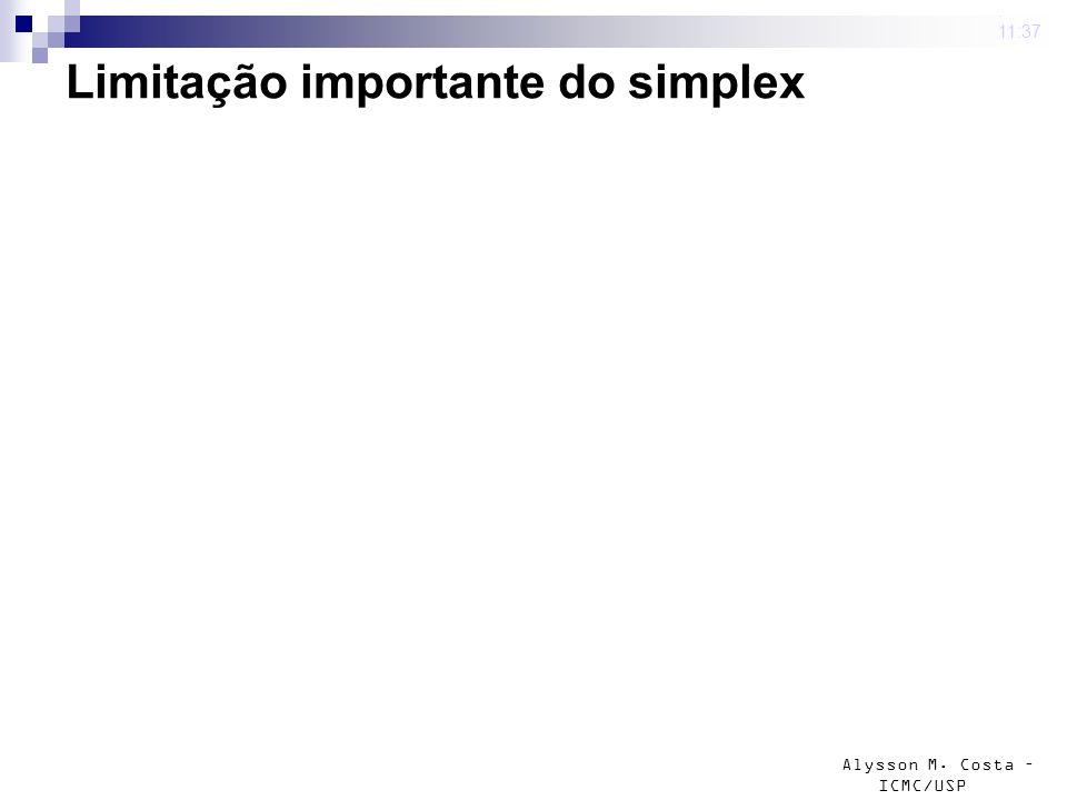 Alysson M. Costa – ICMC/USP Limitação importante do simplex 4 mar 2009. 11:37