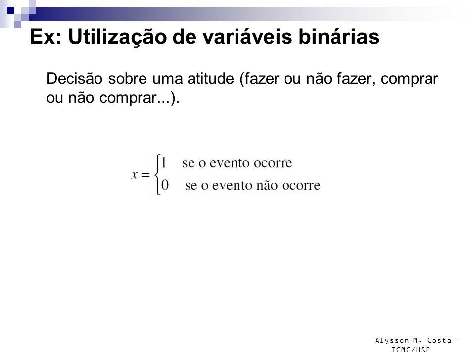 Alysson M. Costa – ICMC/USP Ex: Utilização de variáveis binárias Decisão sobre uma atitude (fazer ou não fazer, comprar ou não comprar...).
