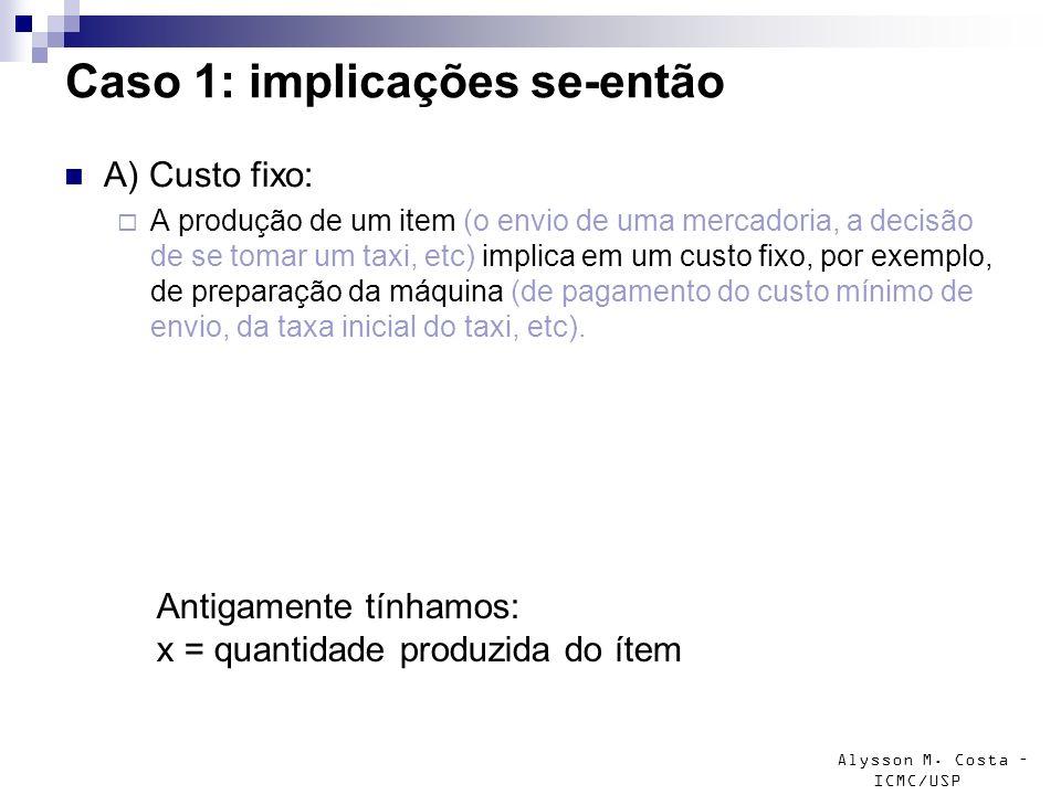 Alysson M. Costa – ICMC/USP Caso 1: implicações se-então A) Custo fixo: A produção de um item (o envio de uma mercadoria, a decisão de se tomar um tax