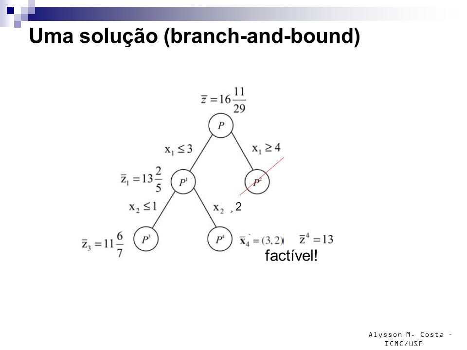 Alysson M. Costa – ICMC/USP Uma solução (branch-and-bound) factível! ¸ 2