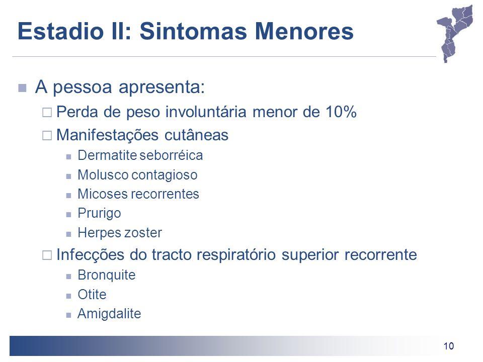 10 Estadio II: Sintomas Menores A pessoa apresenta: Perda de peso involuntária menor de 10% Manifestações cutâneas Dermatite seborréica Molusco contag