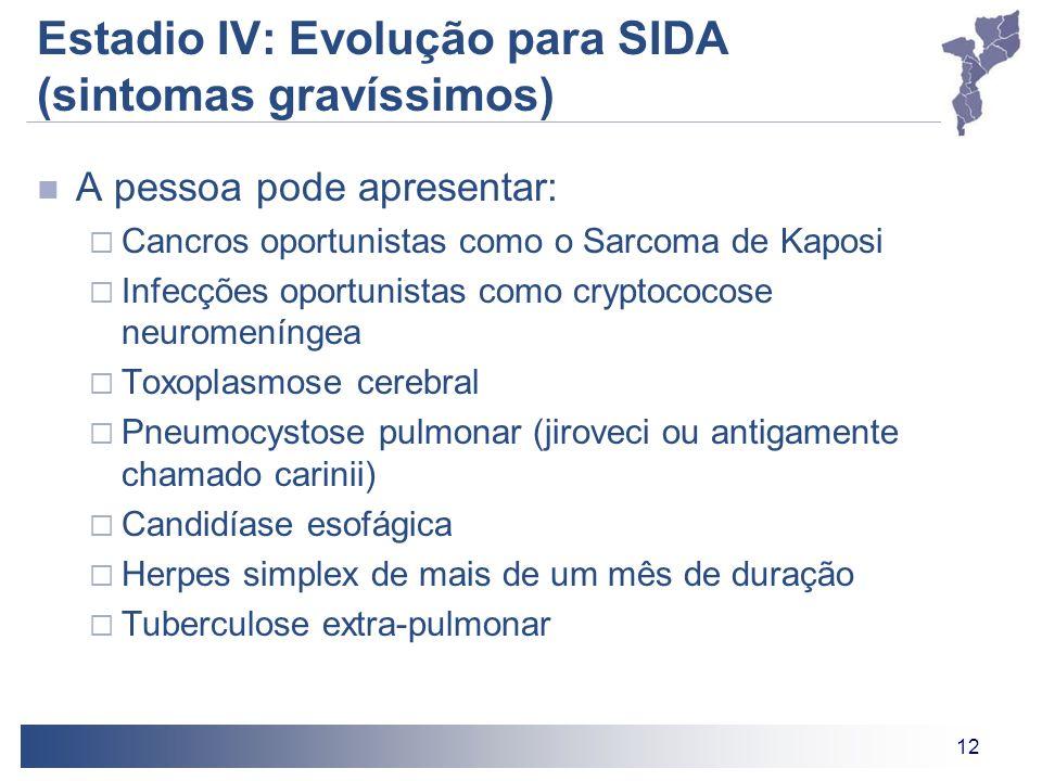 12 Estadio IV: Evolução para SIDA (sintomas gravíssimos) A pessoa pode apresentar: Cancros oportunistas como o Sarcoma de Kaposi Infecções oportunista