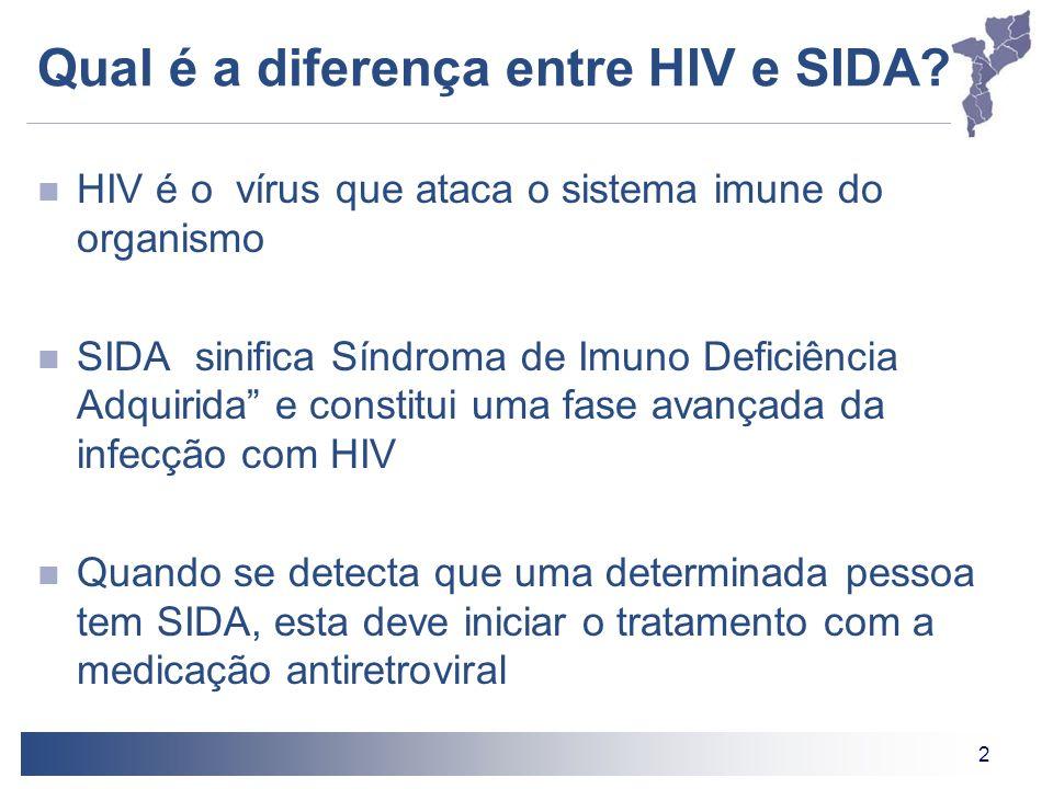 2 Qual é a diferença entre HIV e SIDA? HIV é o vírus que ataca o sistema imune do organismo SIDA sinifica Síndroma de Imuno Deficiência Adquirida e co