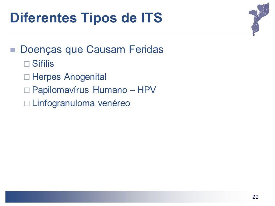 22 Diferentes Tipos de ITS Doenças que Causam Feridas Sífilis Herpes Anogenital Papilomavírus Humano – HPV Linfogranuloma venéreo