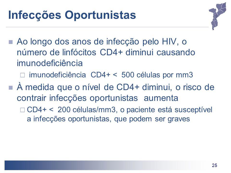 25 Infecções Oportunistas Ao longo dos anos de infecção pelo HIV, o número de linfócitos CD4+ diminui causando imunodeficiência imunodeficiência CD4+