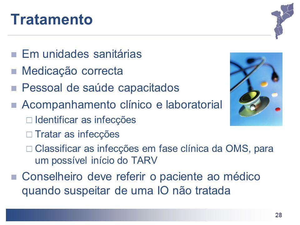 28 Tratamento Em unidades sanitárias Medicação correcta Pessoal de saúde capacitados Acompanhamento clínico e laboratorial Identificar as infecções Tr