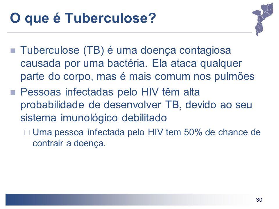30 O que é Tuberculose? Tuberculose (TB) é uma doença contagiosa causada por uma bactéria. Ela ataca qualquer parte do corpo, mas é mais comum nos pul