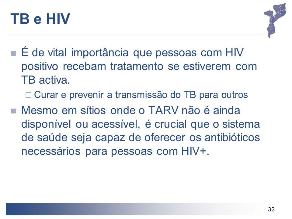 32 TB e HIV É de vital importância que pessoas com HIV positivo recebam tratamento se estiverem com TB activa. Curar e prevenir a transmissão do TB pa