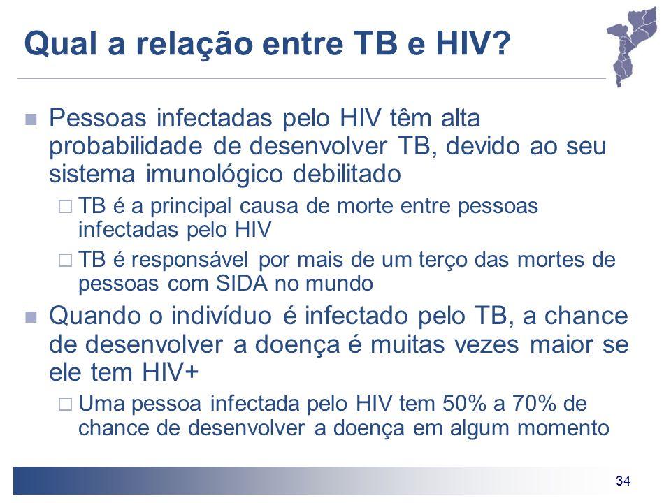 34 Qual a relação entre TB e HIV? Pessoas infectadas pelo HIV têm alta probabilidade de desenvolver TB, devido ao seu sistema imunológico debilitado T