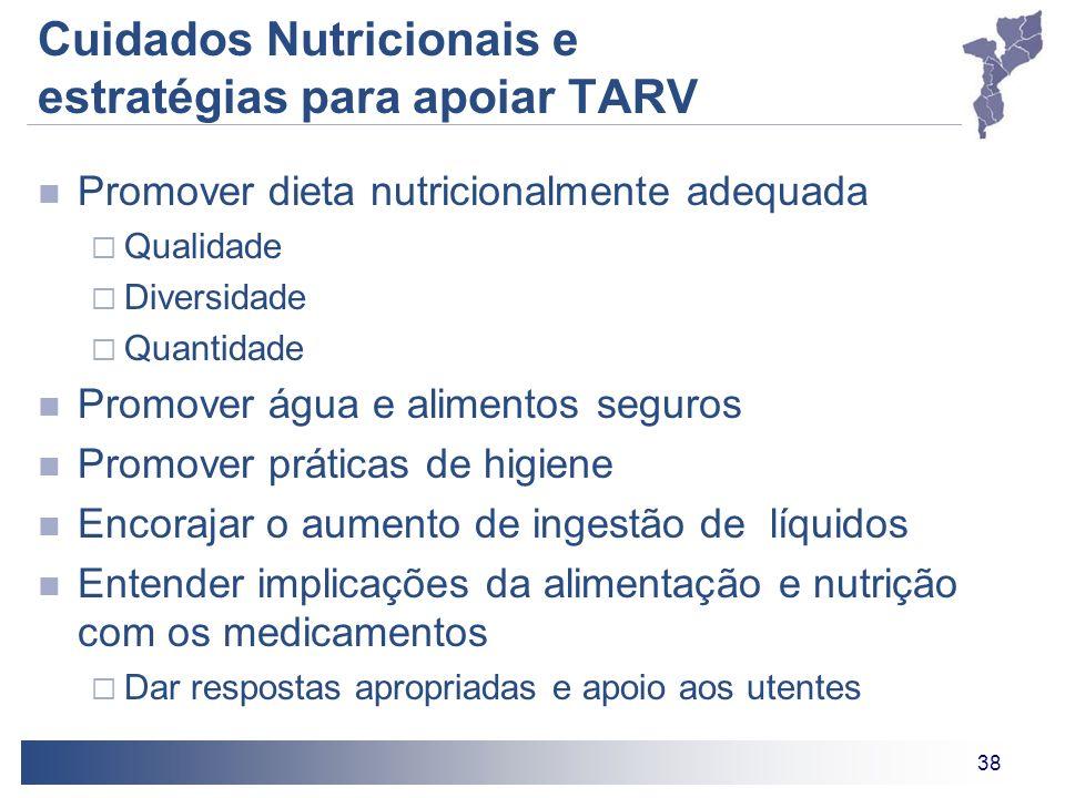 38 Cuidados Nutricionais e estratégias para apoiar TARV Promover dieta nutricionalmente adequada Qualidade Diversidade Quantidade Promover água e alim
