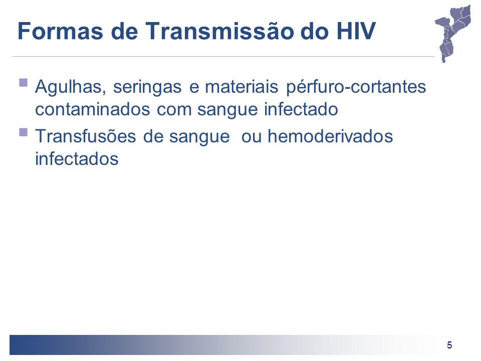 5 Formas de Transmissão do HIV Agulhas, seringas e materiais pérfuro-cortantes contaminados com sangue infectado Transfusões de sangue ou hemoderivado