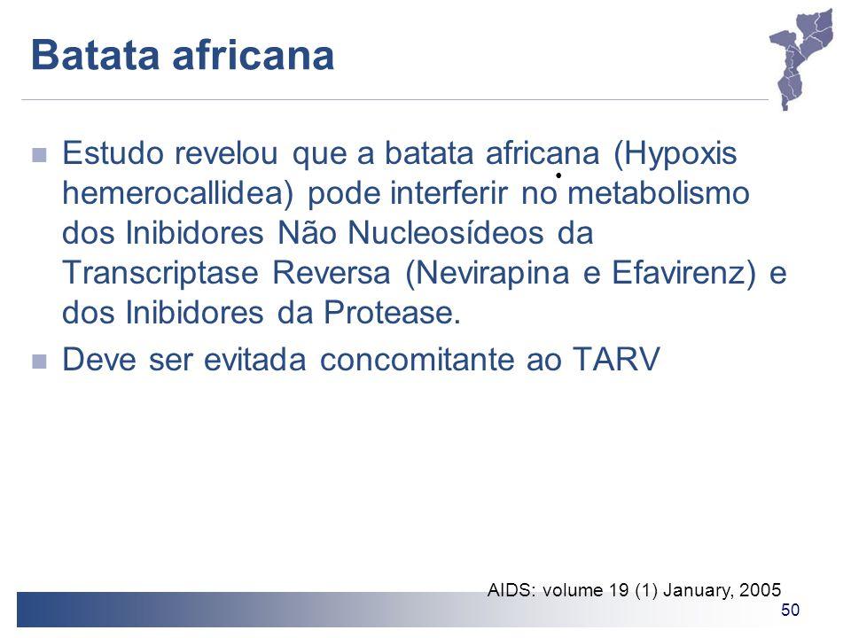 50 Batata africana Estudo revelou que a batata africana (Hypoxis hemerocallidea) pode interferir no metabolismo dos Inibidores Não Nucleosídeos da Tra