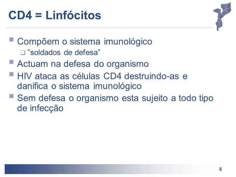6 CD4 = Linfócitos Compõem o sistema imunológico soldados de defesa Actuam na defesa do organismo HIV ataca as células CD4 destruindo-as e danifica o