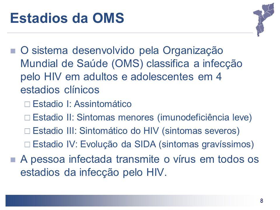 8 O sistema desenvolvido pela Organização Mundial de Saúde (OMS) classifica a infecção pelo HIV em adultos e adolescentes em 4 estadios clínicos Estad