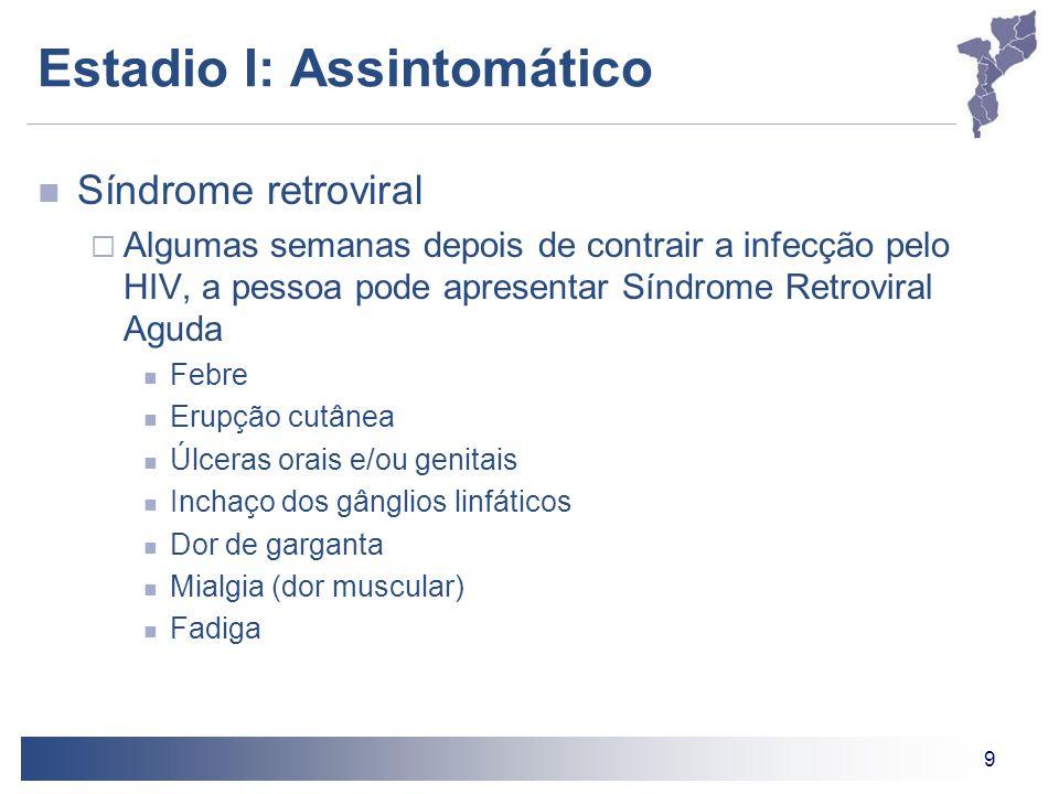 9 Estadio I: Assintomático Síndrome retroviral Algumas semanas depois de contrair a infecção pelo HIV, a pessoa pode apresentar Síndrome Retroviral Ag