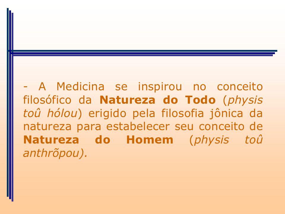 - A Medicina se inspirou no conceito filosófico da Natureza do Todo (physis toû hólou) erigido pela filosofia jônica da natureza para estabelecer seu