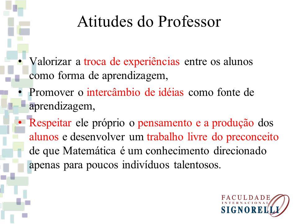 Atitudes do Professor Valorizar a troca de experiências entre os alunos como forma de aprendizagem, Promover o intercâmbio de idéias como fonte de apr