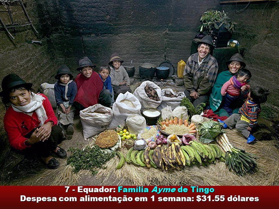 7 - Equador: Família Ayme de Tingo Despesa com alimentação em 1 semana: $31.55 dólares