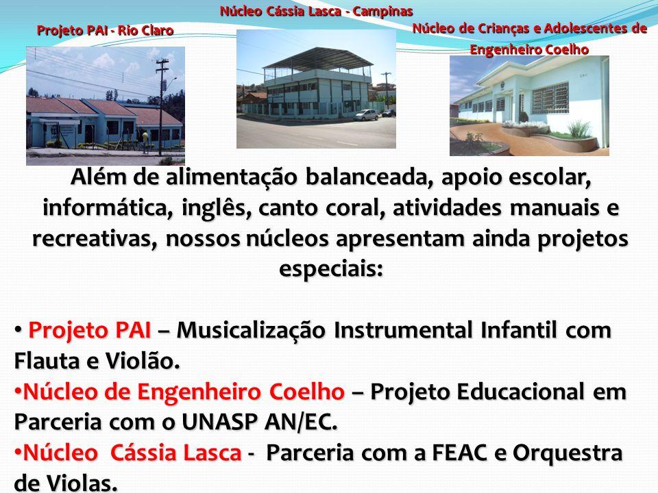 Projeto PAI - Rio Claro Núcleo Cássia Lasca - Campinas Núcleo de Crianças e Adolescentes de Engenheiro Coelho Além de alimentação balanceada, apoio es