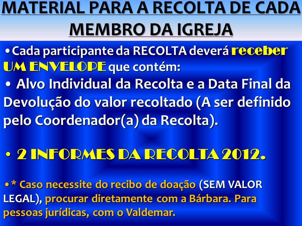 MATERIAL PARA A RECOLTA DE CADA MEMBRO DA IGREJA Cada participante da RECOLTA deverá receber UM ENVELOPE que contém:Cada participante da RECOLTA dever