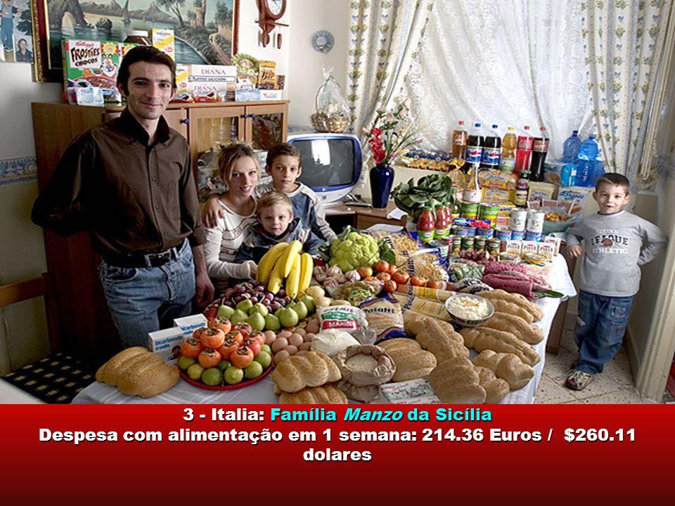 Dê uma olhada no tamanho da fam í lia, a dieta alimentar de cada pa í s, a disponibilidade de alimentos e a despesa com comida, em 1 semana. Despesa c