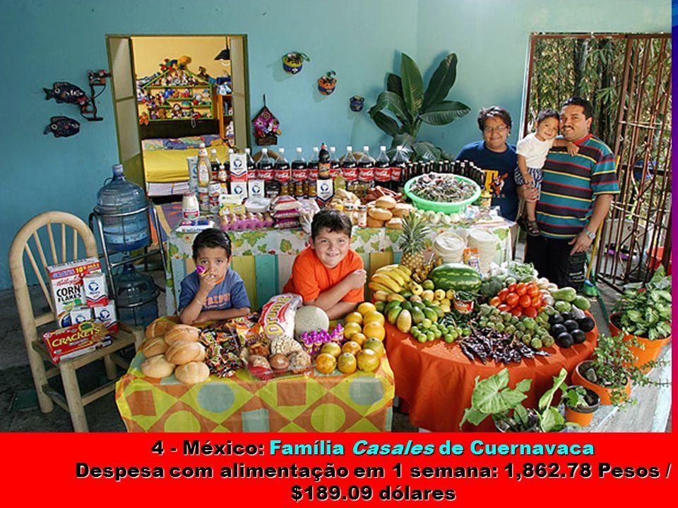 5 - Polônia: Família Sobczynscy de Konstancin-Jeziorna Despesa com alimentação em 1 semana: 582.48 Zlotys / $151.27 dólares