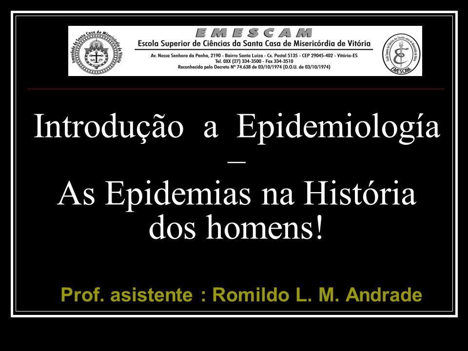 Objetivos para o aprendizado: Entender como a ocorrência das doenças influenciam a história da humanidade Identificar e compreender as principais contribuições feitas para construção da disciplina de Epidemiologia.