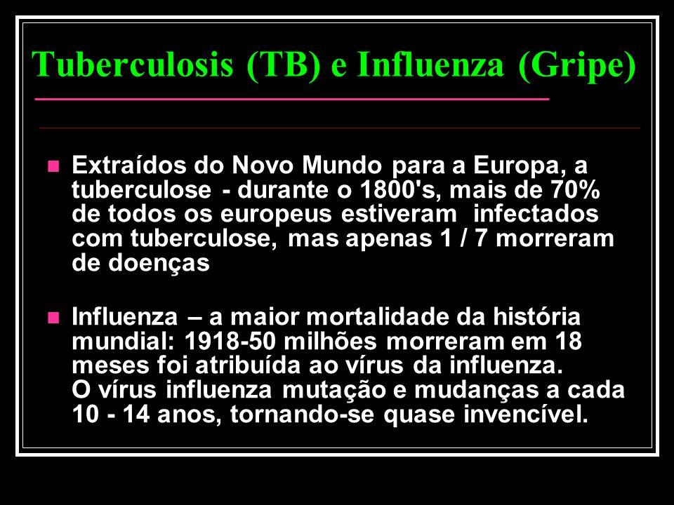 Tuberculosis (TB) e Influenza (Gripe) Extraídos do Novo Mundo para a Europa, a tuberculose - durante o 1800's, mais de 70% de todos os europeus estive