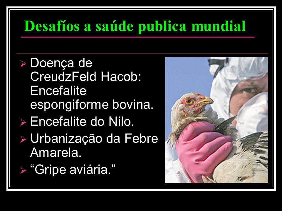 Desafíos a saúde publica mundial Doença de CreudzFeld Hacob: Encefalite espongiforme bovina. Encefalite do Nilo. Urbanização da Febre Amarela. Gripe a
