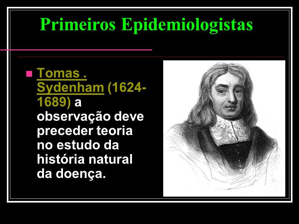 Tomas. Sydenham (1624- 1689) a observação deve preceder teoria no estudo da história natural da doença. Primeiros Epidemiologistas