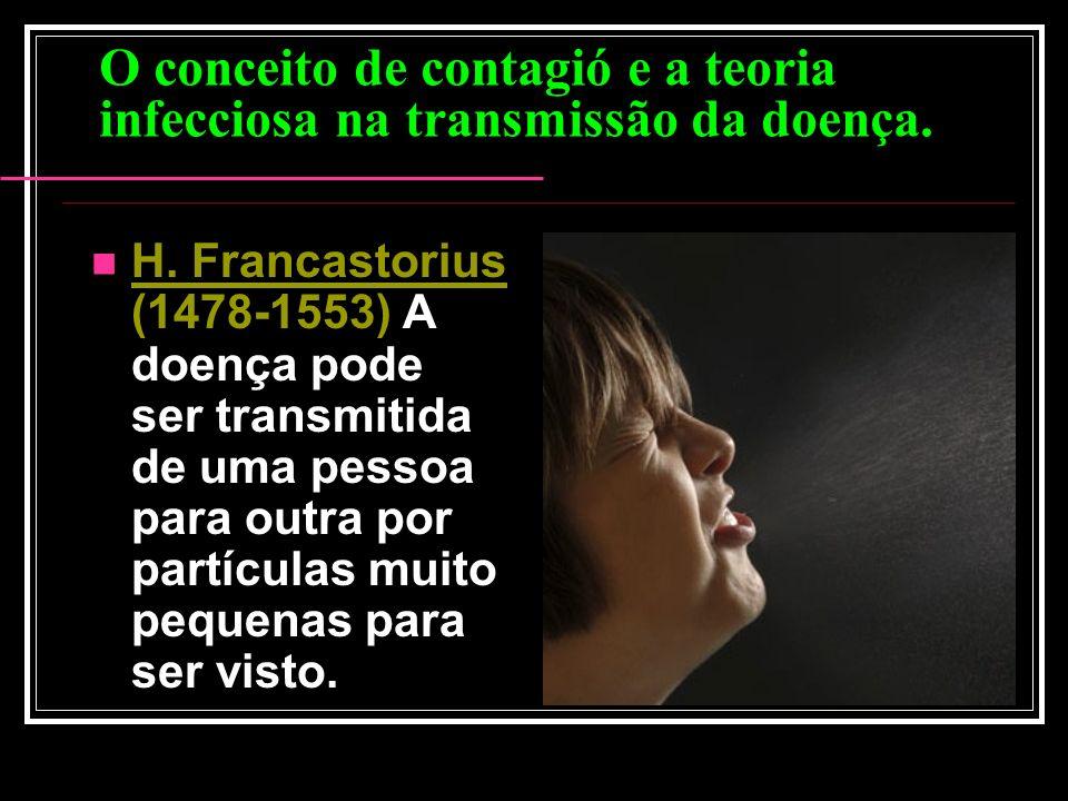 O conceito de contagió e a teoria infecciosa na transmissão da doença. H. Francastorius (1478-1553) A doença pode ser transmitida de uma pessoa para o