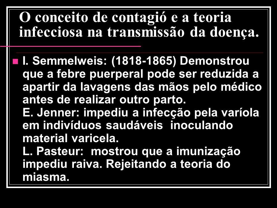 O conceito de contagió e a teoria infecciosa na transmissão da doença. I. Semmelweis: (1818-1865) Demonstrou que a febre puerperal pode ser reduzida a