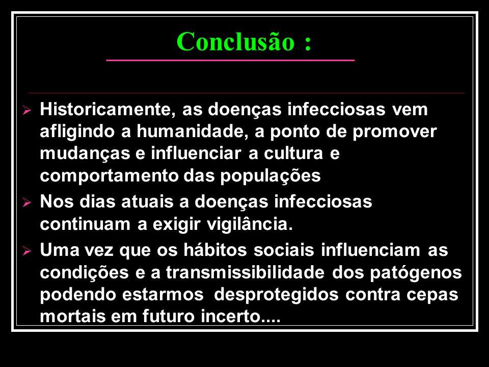 Conclusão : Historicamente, as doenças infecciosas vem afligindo a humanidade, a ponto de promover mudanças e influenciar a cultura e comportamento da