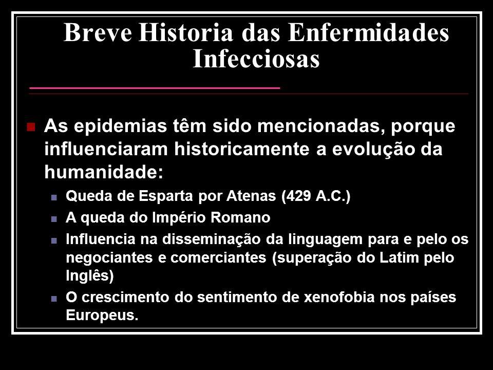 Breve Historia das Enfermidades Infecciosas As epidemias têm sido mencionadas, porque influenciaram historicamente a evolução da humanidade: Queda de