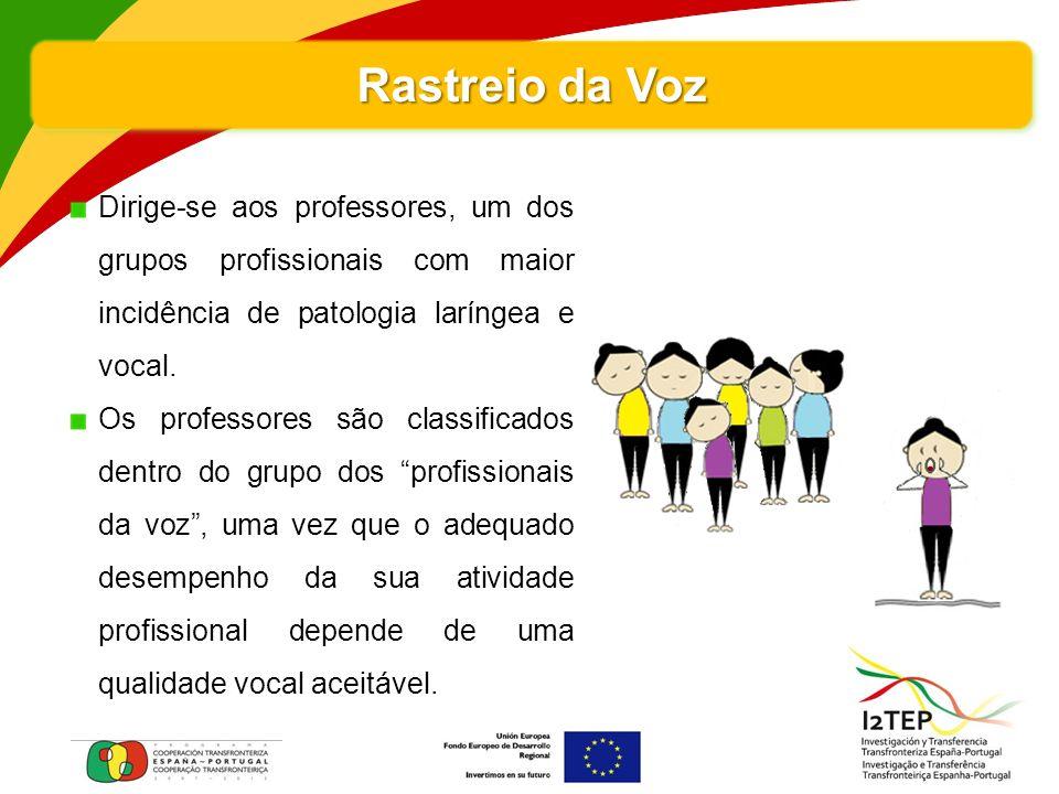 Rastreio da Voz Dirige-se aos professores, um dos grupos profissionais com maior incidência de patologia laríngea e vocal.