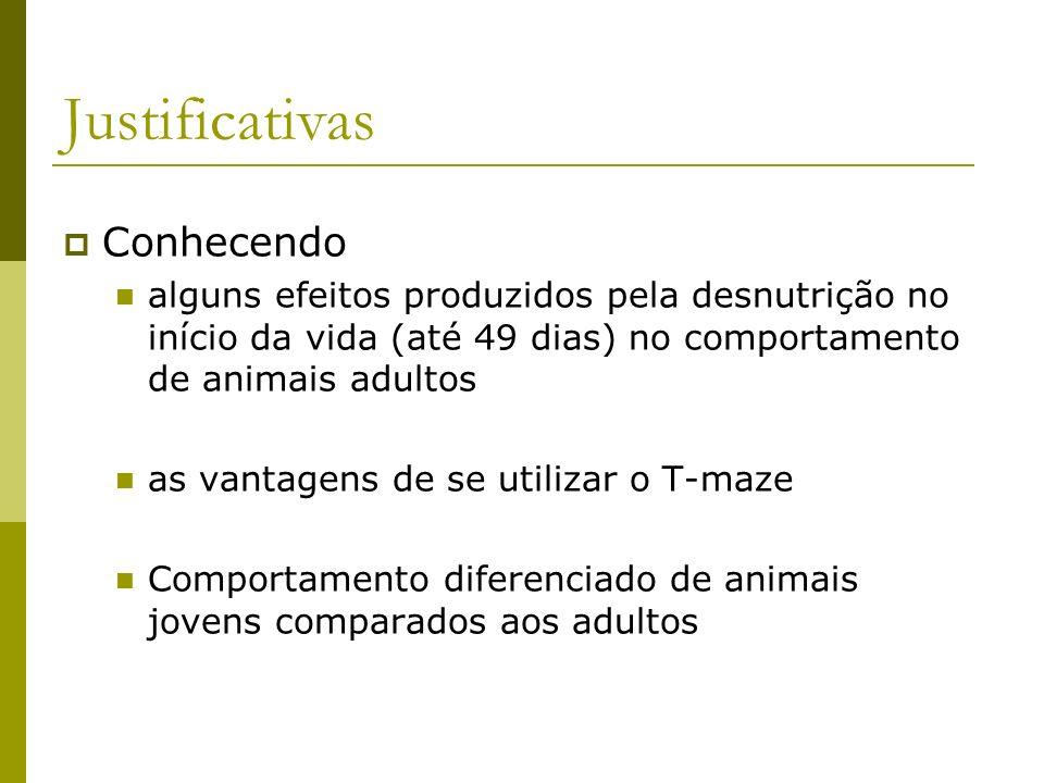 Justificativas Conhecendo alguns efeitos produzidos pela desnutrição no início da vida (até 49 dias) no comportamento de animais adultos as vantagens
