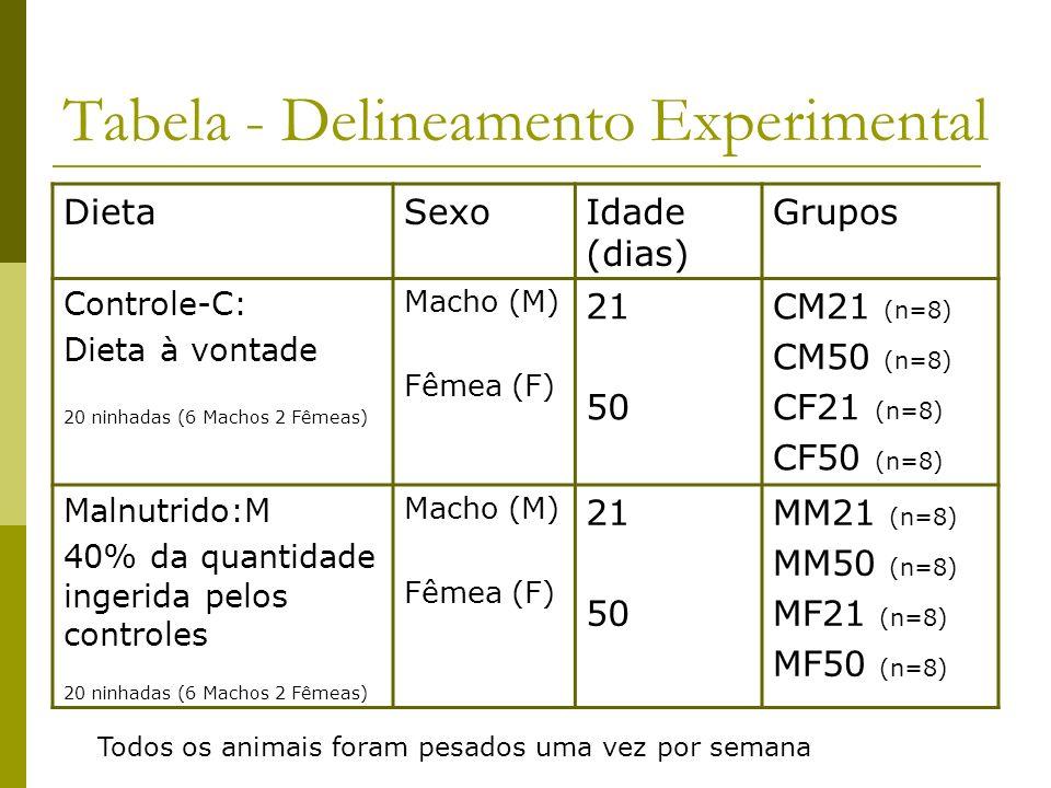Tabela - Delineamento Experimental DietaSexoIdade (dias) Grupos Controle-C: Dieta à vontade 20 ninhadas (6 Machos 2 Fêmeas) Macho (M) Fêmea (F) 21 50
