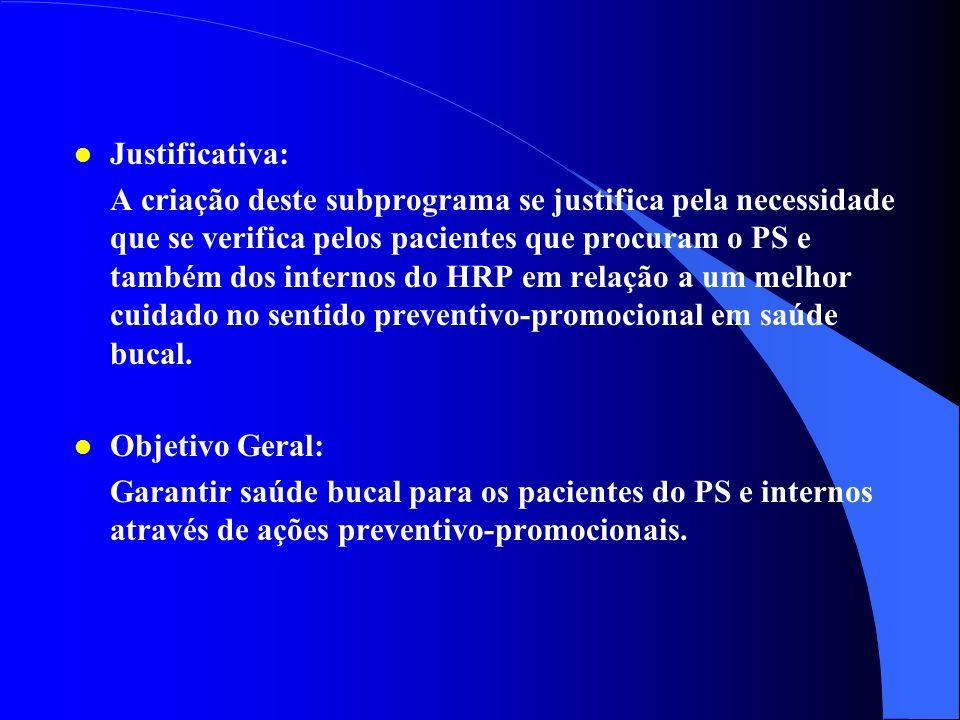 3 - Subprograma de Atenção Preventivo- Promocional em Saúde Bucal na Internação do Hospital Regional de Planaltina Hospital Regional de Planaltina