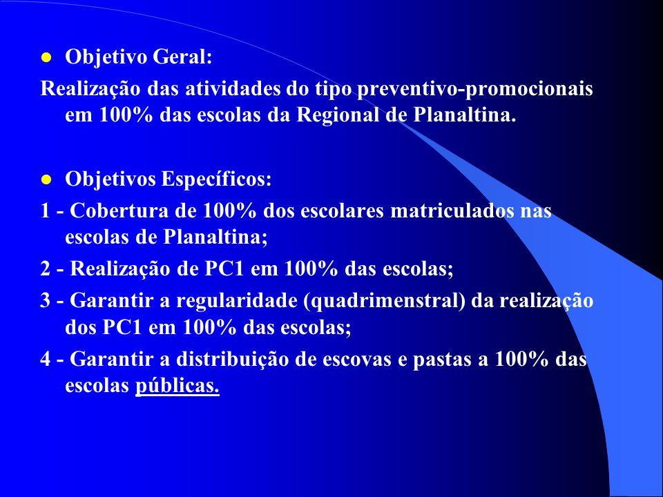 l Justificativa: Tratando-se de realização de uma proposta para a Regional de Planaltina onde procura-se cobrir toda a população, as escolas apresenta